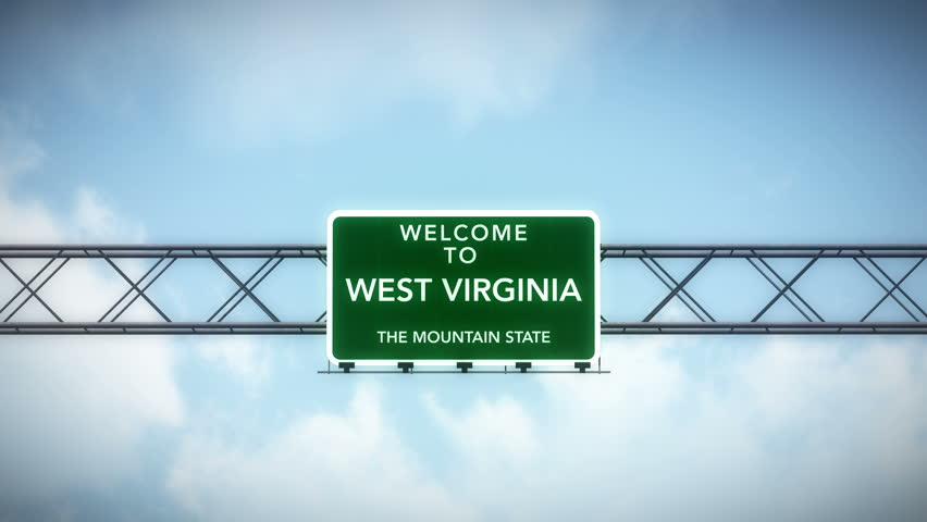 4K Passing under Welcome to West Virginia State USA Interstate Highway Sign with Matte Photo Realistic 3D Animation 4K 4096x2304 ultra high definition