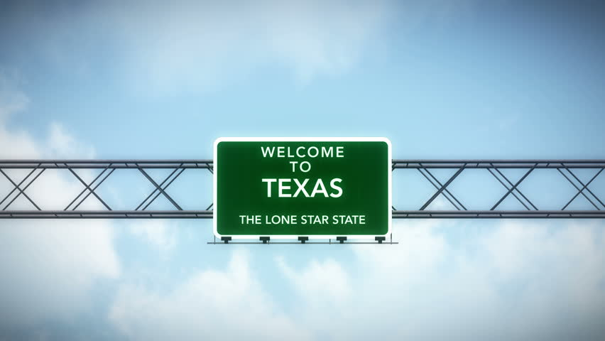 4K Passing under Welcome to Texas State USA Interstate Highway Sign with Matte Photo Realistic 3D Animation 4K 4096x2304 ultra high definition