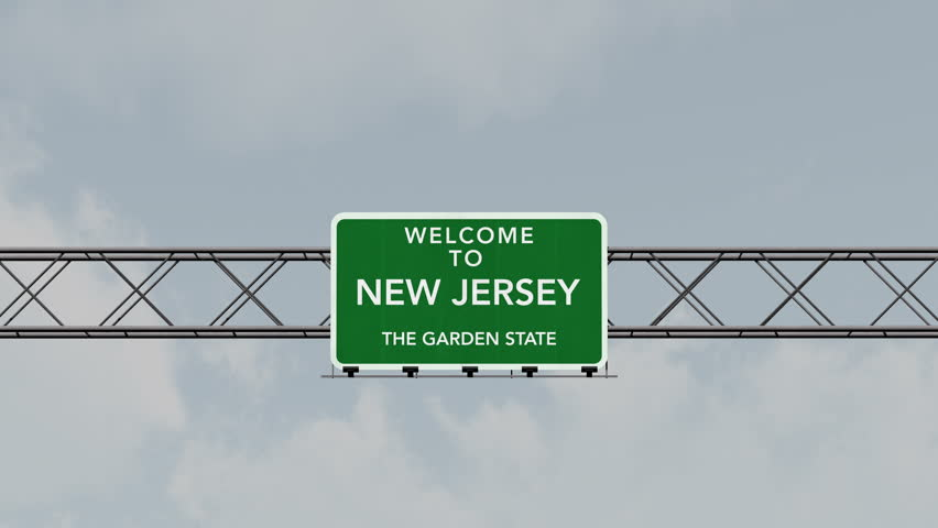 4K Passing under Welcome to New Jersey State USA Interstate Highway Sign with Matte Photo Realistic 3D Animation 4K 4096x2304 ultra high definition