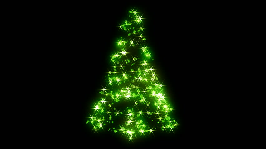 Loopable Rotating green sparkles shape of Christmas tree