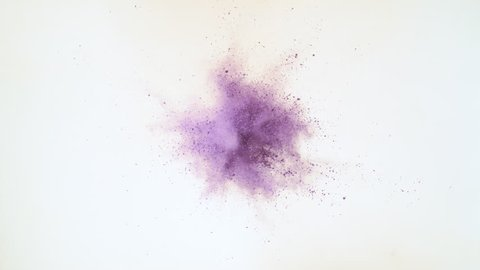 Particles/powder exploding against white background. Shot with high speed camera, phantom flex 4K. Slow Motion.