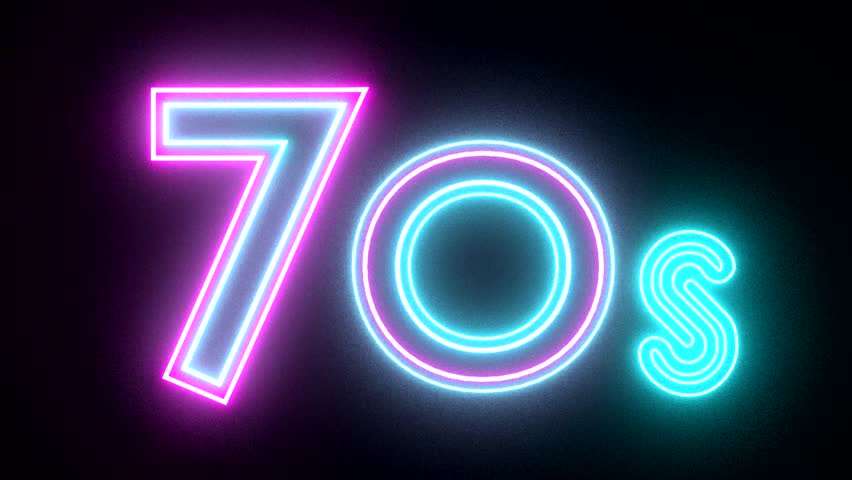 70s neon sign lights logo text glowing multicolor