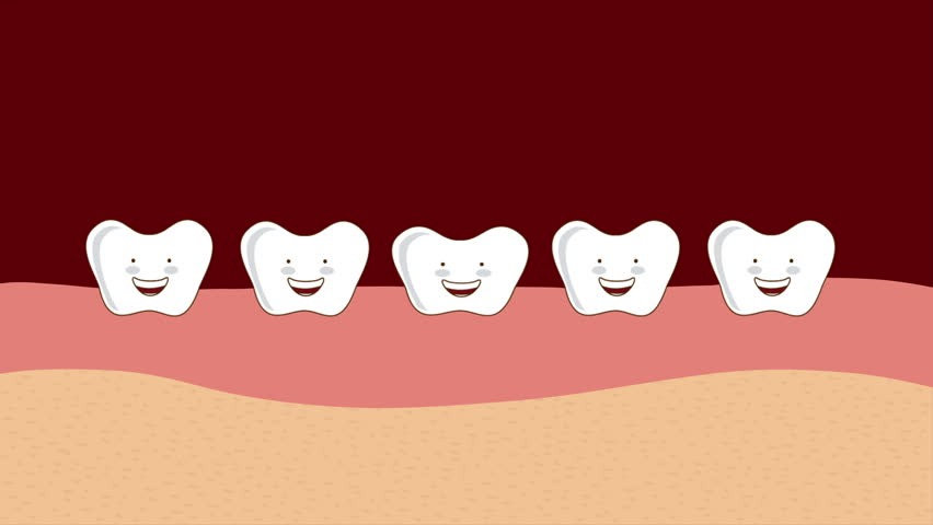 Teeth Care Checkup Label Animation. Smile With Dentist Tools Icons ...