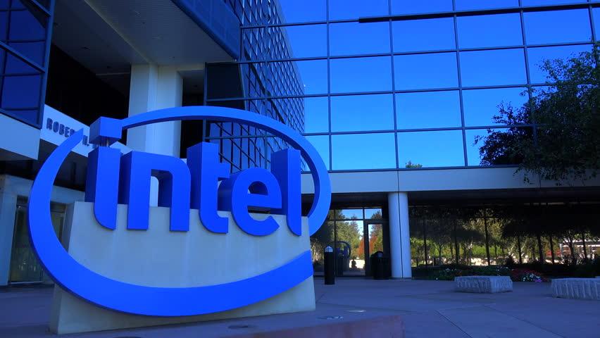 SILICON VALLEY, CALIFORNIA - CIRCA 2014 - Establishing shot of Intel Headquarters in silicon valley, California.
