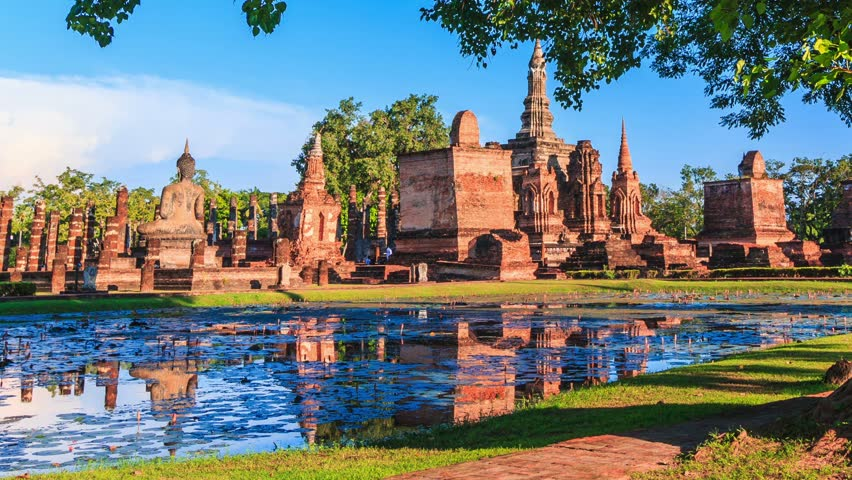 Sukhothai historical park, the old town of Thailand , They are public domain or treasure of Buddhism, no restrict in copy or use. HD video footage, 1920x1080    Shutterstock HD Video #9246353