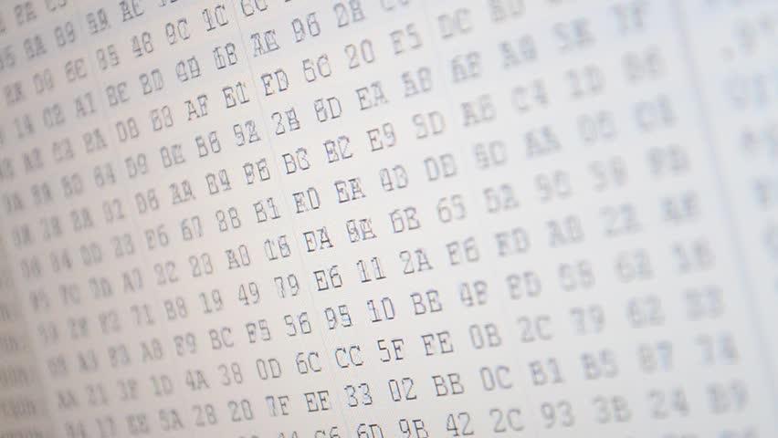 Hexadecimal program code on screen. Animated background of moving binary code numbers.