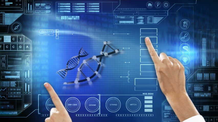 Medical laboratory healthcare motion graphics touch screen hands chromosome DNA | Shutterstock HD Video #9275513