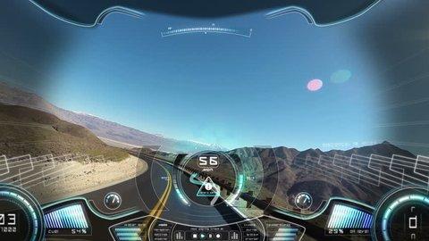 car driving pov application display hud motion graphics GPS technology game