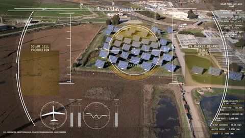 Drone Technology UAV Unmanned Aircraft solar motion graphics Turbine energy HUD