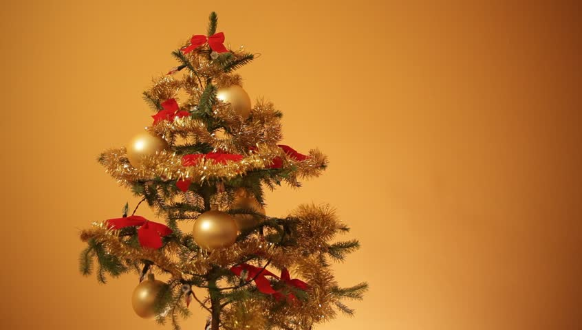 christmas tree with gold background