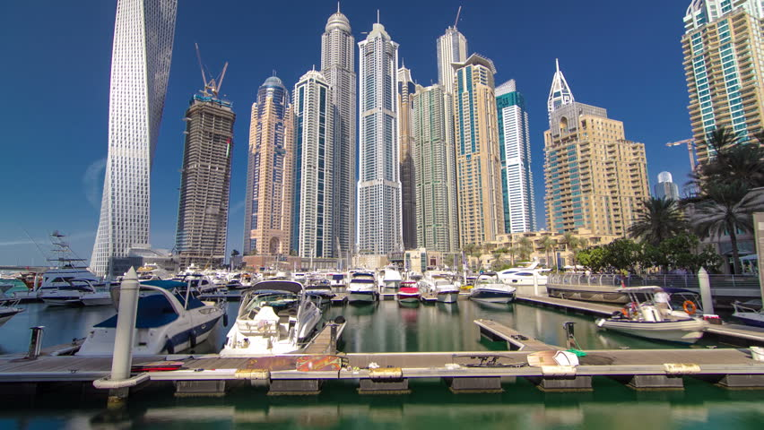 Dubai Marina with skyscrapers and boats in Dubai, United Arab Emirates Timelapse Hyperlapse