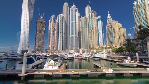 Dubai Marina with skyscrapers and boats in Dubai, United Arab Emirates Timelapse Hyperlapse
