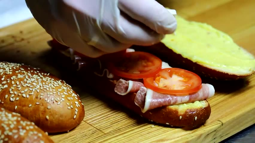 sandwiches in the kitchen at the restaurant #9318698