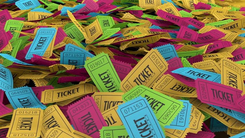 Raffle or Lottery Ticket Stub Pile - 4 Colors