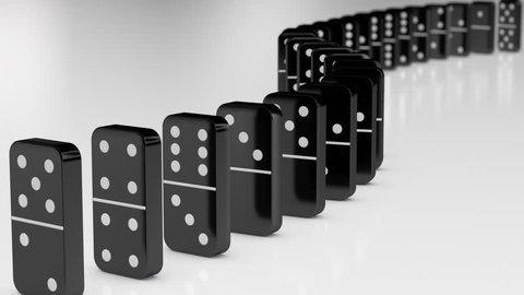 Black Dominoes Falling in Chain Reaction