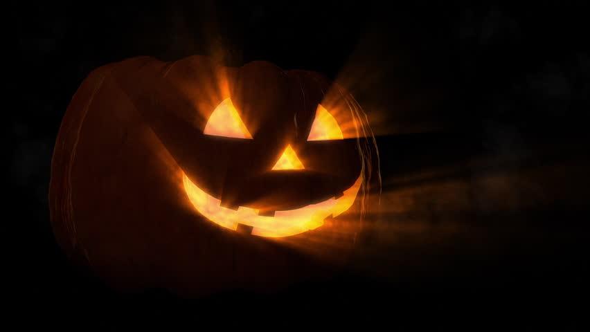 Smiling Carved Halloween Pumpkin Loop  | Shutterstock HD Video #9355724