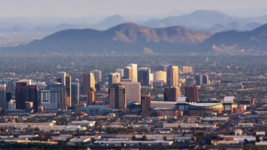 Phoenix skyline from above. Slight tilt-shift miniature effect. HD 1080p pan.
