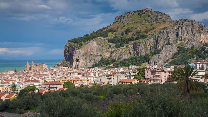 Sunny morning panorama of the town Cefalu with Piazza del Duomo, Sicily, Italy, Tyrrhenian sea, Europe. Exported from RAW file.