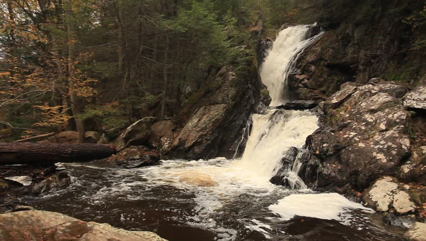 Campbell Falls: State Park located in the boundary between Connecticut and Massachusetts during autumn.