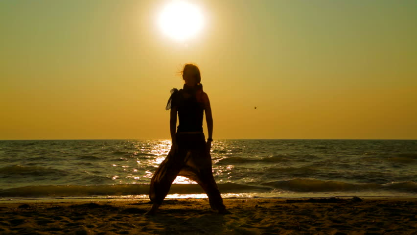 Topless Woman Beach Sundown 01Soft In Slow Motion - Slightly Soft Stock Footage Video -5775