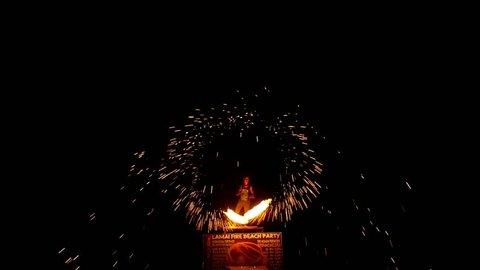 Beautiful Fire Show at Night on the Beach. Koh Samui. Thailand. HD, 1920x1080.