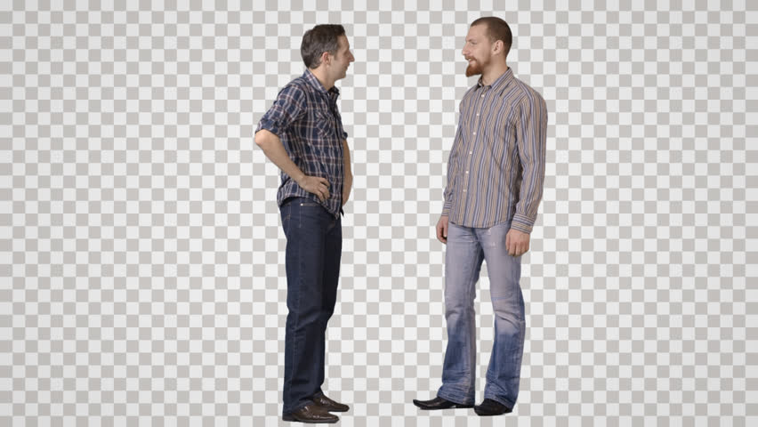 Two young men stand face to face, talk, laugh. Front view. Footage with alpha channel. File format - mov. Codec - PNG+Alpha Combine these footage with other people to make crowd effect