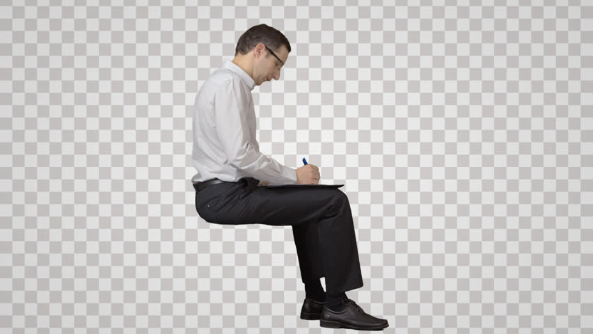 person sitting in chair back view png. Smart Businessman Sits On The Chair, Looks At And Writes. Side View. Footage With Alpha Channel. File Format - Mov. Codeck PNG+Alpha Combine These Person Sitting In Chair Back View Png E