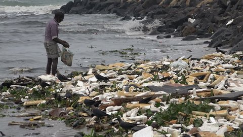 CHENNAI, INDIA - 28 NOVEMBER 2014: An unidentified man searches for items to be recycled, on the shores of a beach in Chennai.