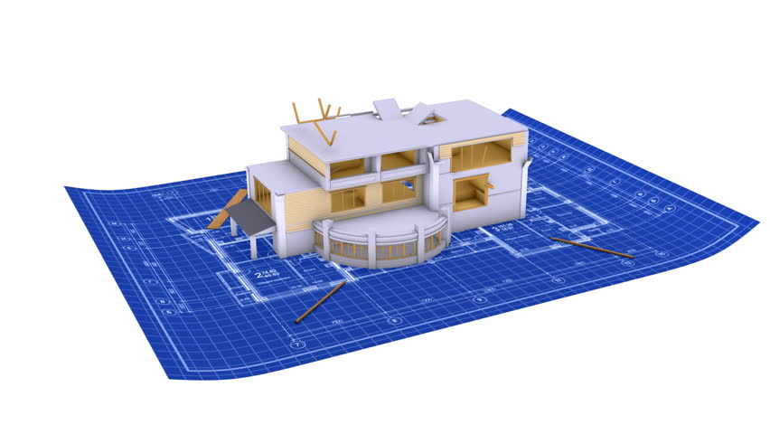 Luxury house being built on a blueprint paper stock footage video house being built on a blueprint paper hd stock video clip malvernweather Image collections