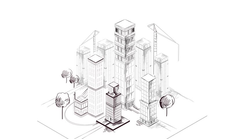 architecture blueprints skyscraper. Isometric City Building Animated Skyscraper Architecture Blueprint Sketch Available In 4k UHD FullHD And HD 3d Video Animation Footage Stock Blueprints