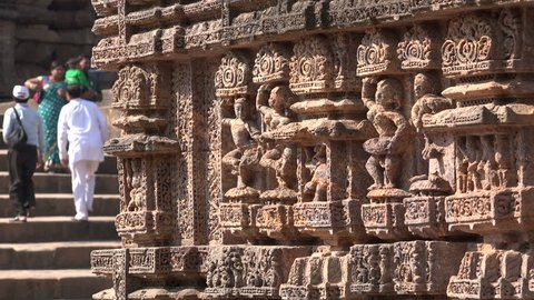 KONARK, INDIA - 4 DECEMBER 2014: Details of sculptures on the Konark Sun Temple. The temple was built in the 13th century and is now a Unesco world heritage site.