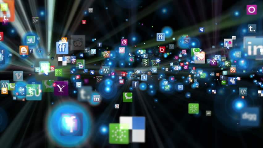 Editorial animation: Social Network Icons flying, shine, black | Shutterstock HD Video #9513653