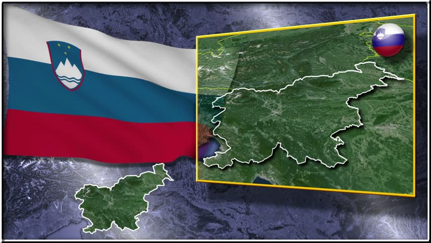 Animation Flag And Map Slovenia Stock Footage Video - Slovenia map hd