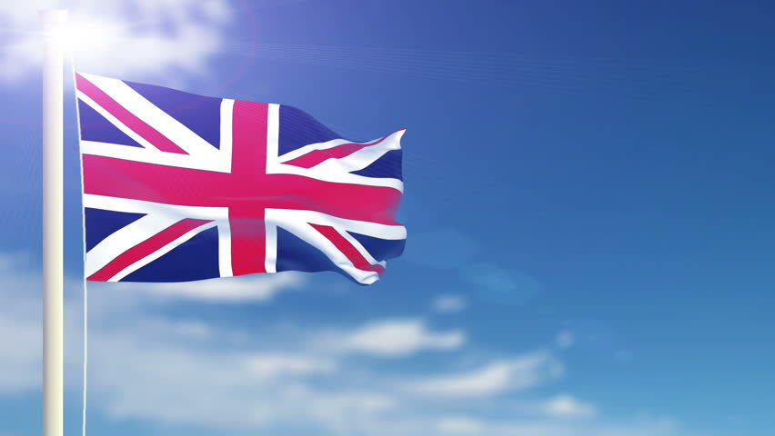 British flag slowly waving in the wind. Silk material. Blue sky. Seamless, 8 seconds long loop.