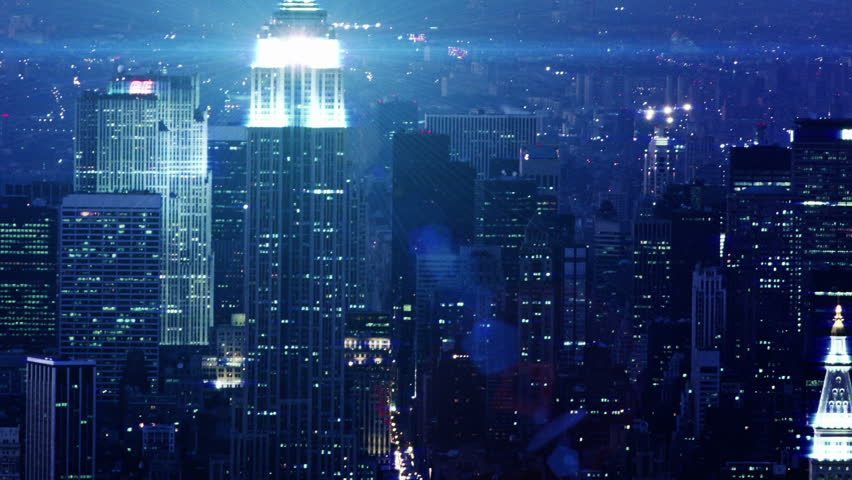 New York Office Buildings at night Time