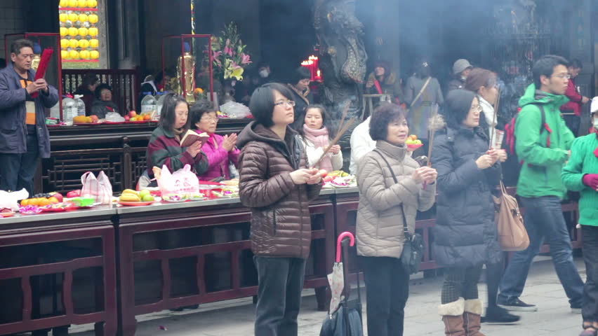 Taipei, Taiwan, ROC- February 09, 2015: Longshan Temple in the Daytime, One of the Biggest and the Oldest Buddhist Temple in Taipei,  People will Come to Here to do Worship and Make a Wish. HD #9562523