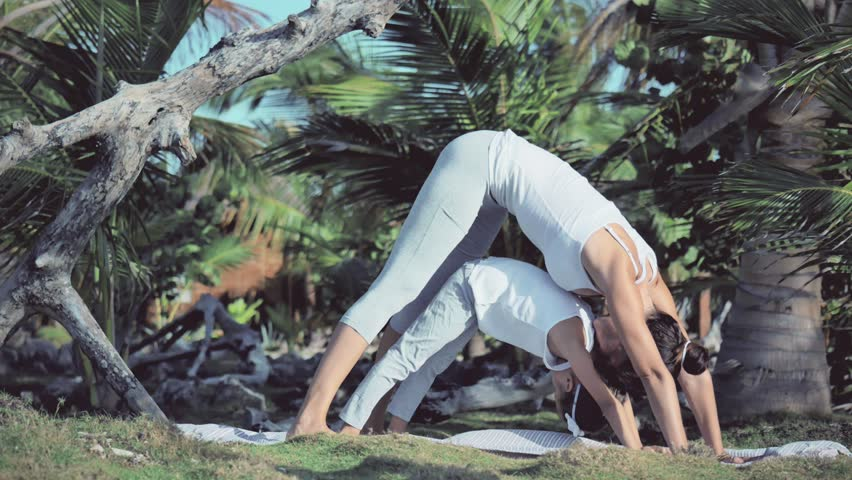 Stock Video Clip Of Mother And Daughter Doing Yoga Poses Together |  Shutterstock
