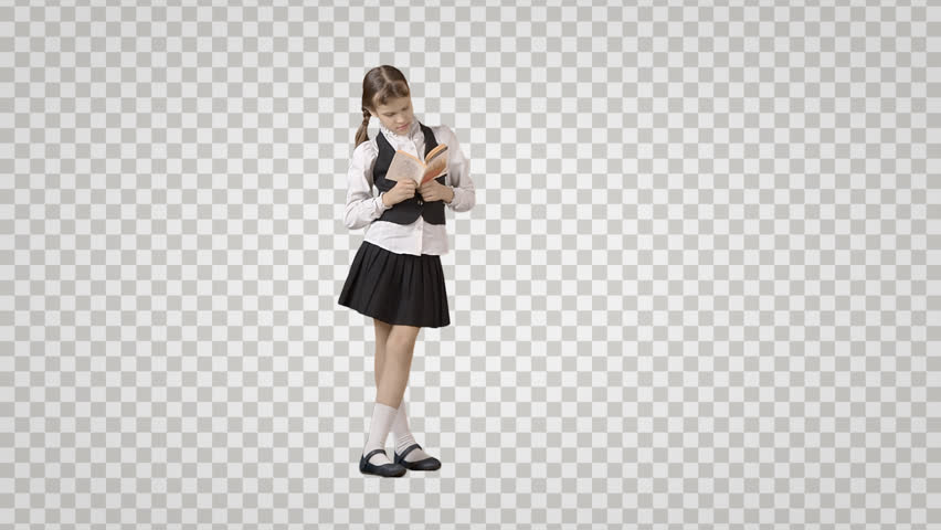 Schoolgirl with book is standing, reading & waiting. Front view. Footage with alpha channel File format - mov. Codeck - PNG+Alpha Combine these footage with other people to make crowd effect
