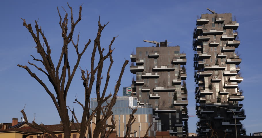 Modern Architecture Videos milan, italy - march 8, 2015 green vertical tower bosco verticale