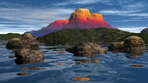Volcanic mountain and rocks in the sea, animation  for a beautiful landscape with colorful stones on the mountain and a rocky  beach on the green island, pleasant walk on the water under a blue sky.