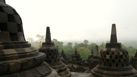 Pan from the Borobudur a 9th-century Mahayana Buddhist Temple in Magelang, Central Java, Indonesia
