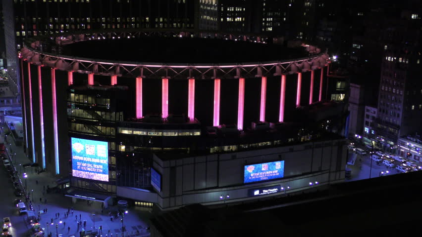 NEW YORK   APRIL 11: Madison Square Garden In New York City Beams Colorful  Neon