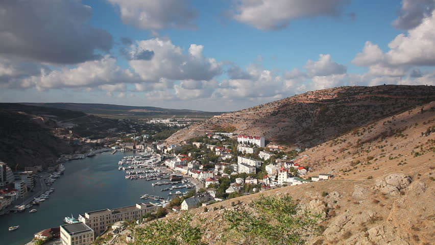 Panoramic view of Balaklava Bay from the hill, Crimea - HD stock footage clip