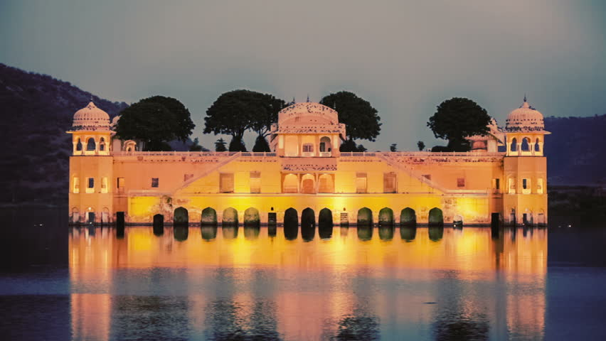 Rajasthan landmark - Jal Mahal (Water Palace) on Man Sagar Lake in the evening in twilight. Jaipur, Rajasthan, India. Vintage retro effect filtered hipster style video.