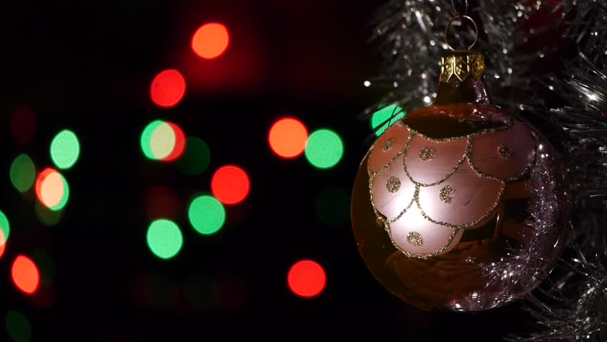 Christmas decorations - Defocused Christmas lights on background - Christian traditions and practices | Shutterstock HD Video #9696203