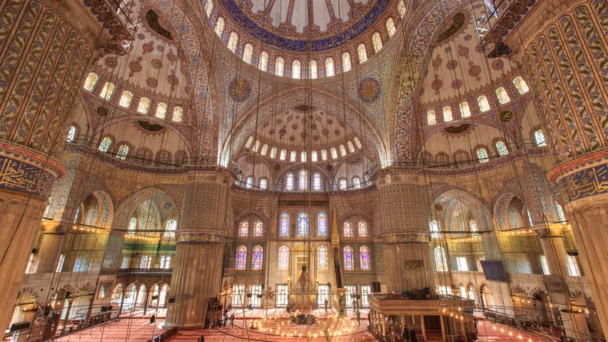 ISTANBUL - APRIL 07: Time Lapse scene interior of the Blue or Sultan Ahmet Mosque in Istanbul. 4K Time Lapse. Tilt Shift from top to bottom. April 07, 2015 in Istanbul, Turkey.