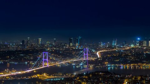 Panoramic Night Time Lapse scene over the Bosphorus bridge and environment from Camlica Hill in Istanbul. 4K Time Lapse,Turkey. Istanbul city skyline aerial view.