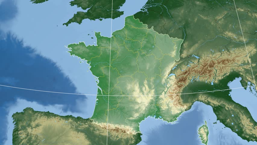 Limousin Region Extruded On The Physical Map Of France Rivers And - France physical map