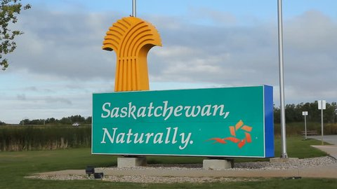 SASKATCHEWAN, CANADA – SEPT 14th: Saskatchewan sign at the Manitoba border in Saskatchewan, Canada on Sept 14th, 2014. Saskatchewan is a prairie province in Canada.