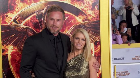 Los Angeles, CA - November 17,2014: Jessica Simpson and Eric Johnson at The Hunger Games: Mockingjay Part 1 Los Angeles Premiere, Nokia Theatre